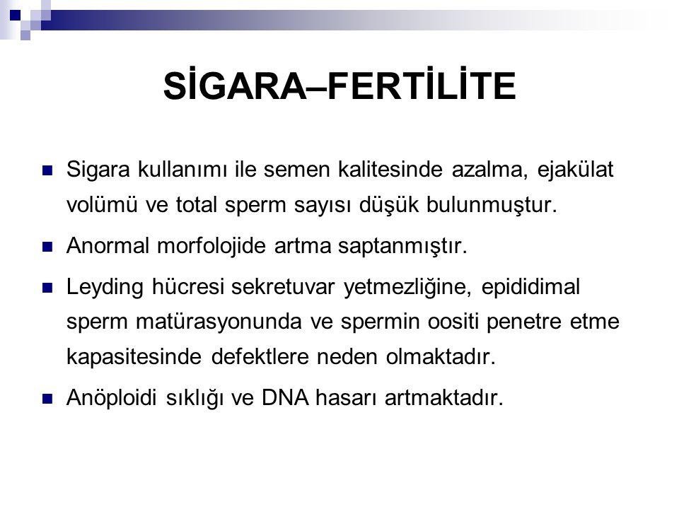 SİGARA–FERTİLİTE Sigara kullanımı ile semen kalitesinde azalma, ejakülat volümü ve total sperm sayısı düşük bulunmuştur.