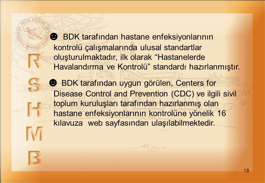 ☻ BDK tarafından hastane enfeksiyonlarının kontrolü çalışmalarında ulusal standartlar oluşturulmaktadır, ilk olarak Hastanelerde Havalandırma ve Kontrolü standardı hazırlanmıştır.