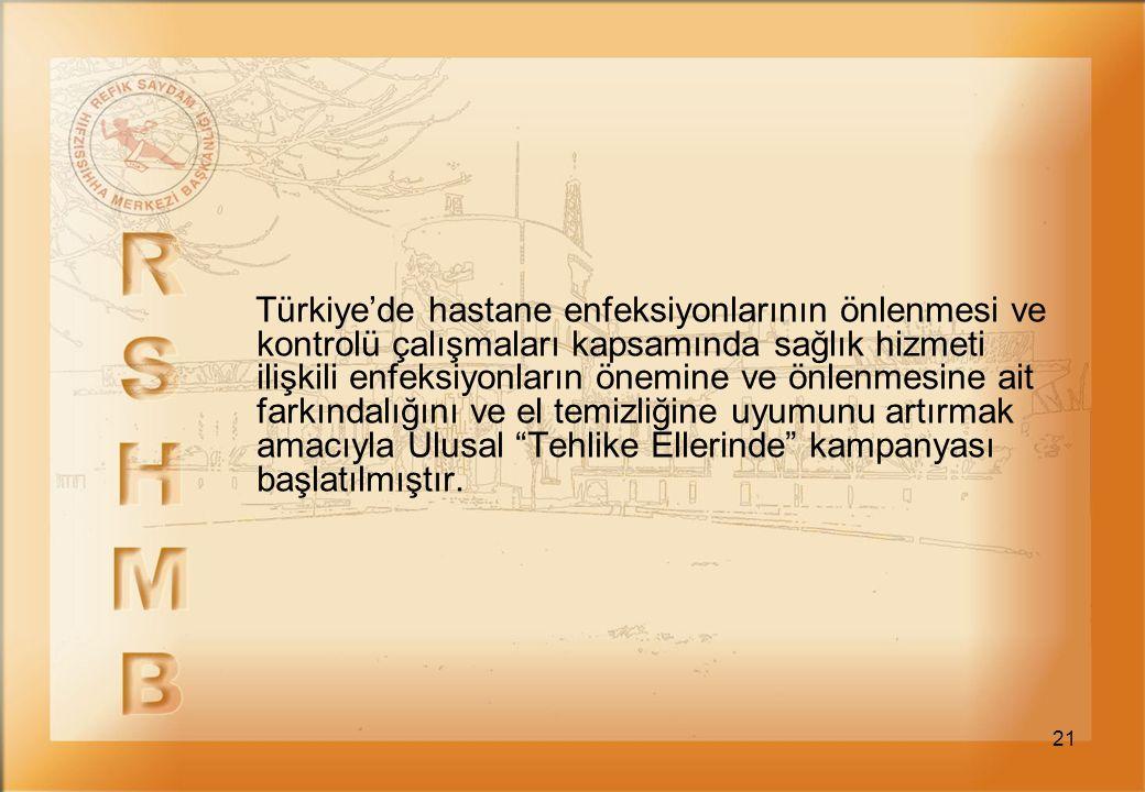 Türkiye'de hastane enfeksiyonlarının önlenmesi ve kontrolü çalışmaları kapsamında sağlık hizmeti ilişkili enfeksiyonların önemine ve önlenmesine ait farkındalığını ve el temizliğine uyumunu artırmak amacıyla Ulusal Tehlike Ellerinde kampanyası başlatılmıştır.