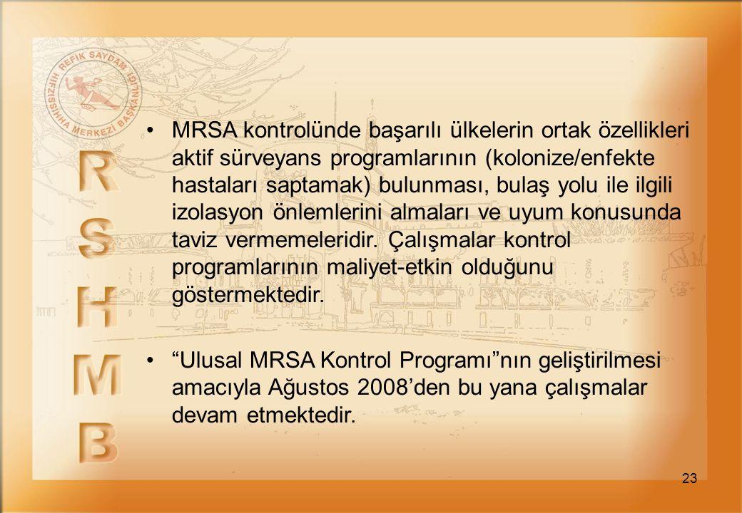 MRSA kontrolünde başarılı ülkelerin ortak özellikleri aktif sürveyans programlarının (kolonize/enfekte hastaları saptamak) bulunması, bulaş yolu ile ilgili izolasyon önlemlerini almaları ve uyum konusunda taviz vermemeleridir. Çalışmalar kontrol programlarının maliyet-etkin olduğunu göstermektedir.