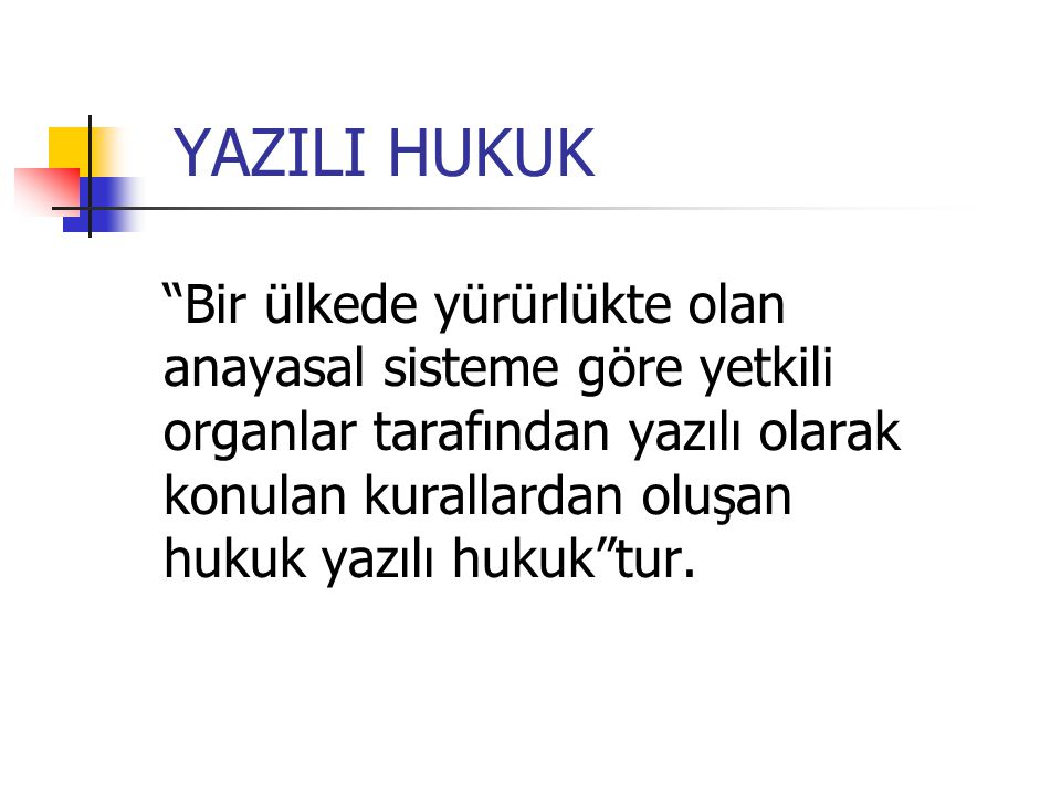 YAZILI HUKUK