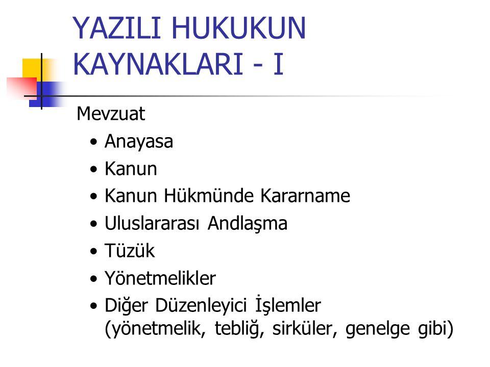 YAZILI HUKUKUN KAYNAKLARI - I