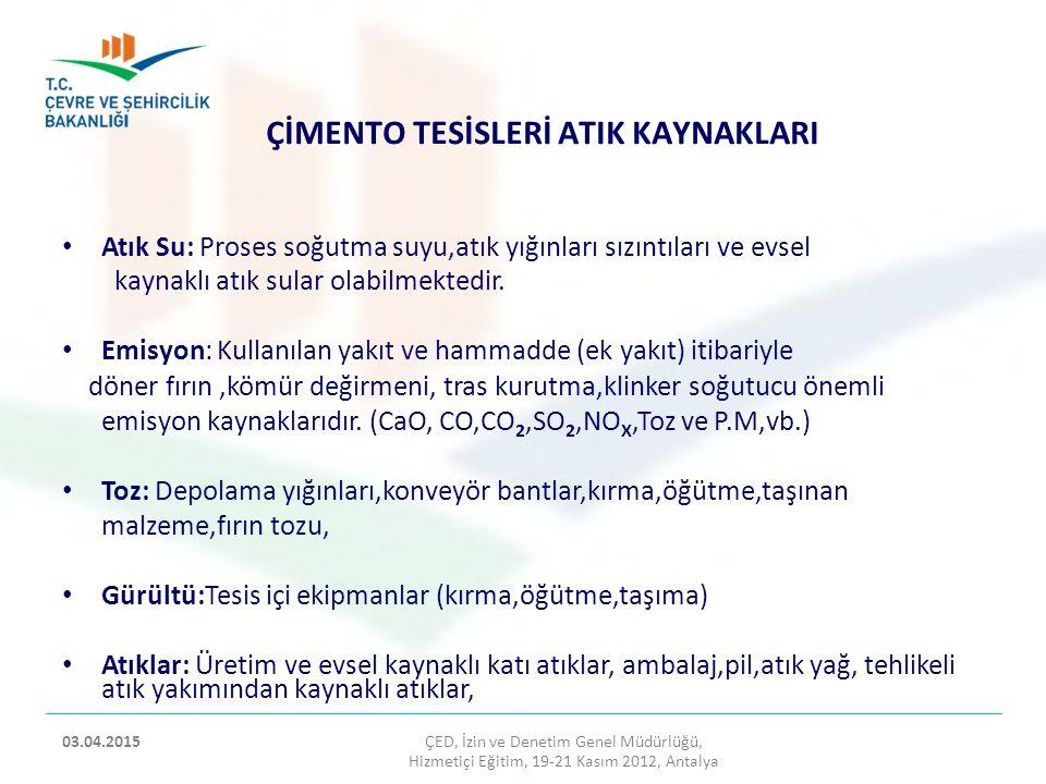 ÇİMENTO TESİSLERİ ATIK KAYNAKLARI