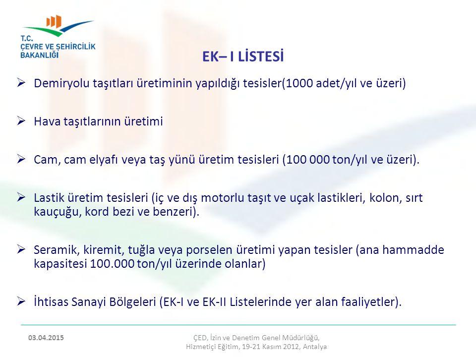 EK– I LİSTESİ Demiryolu taşıtları üretiminin yapıldığı tesisler(1000 adet/yıl ve üzeri) Hava taşıtlarının üretimi.