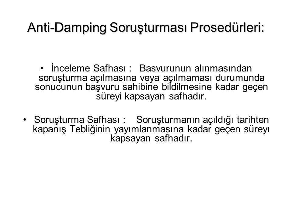 Anti-Damping Soruşturması Prosedürleri: