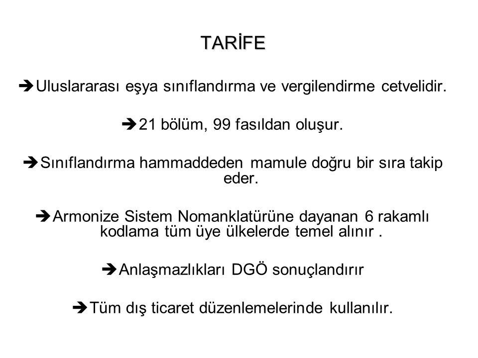TARİFE Uluslararası eşya sınıflandırma ve vergilendirme cetvelidir.