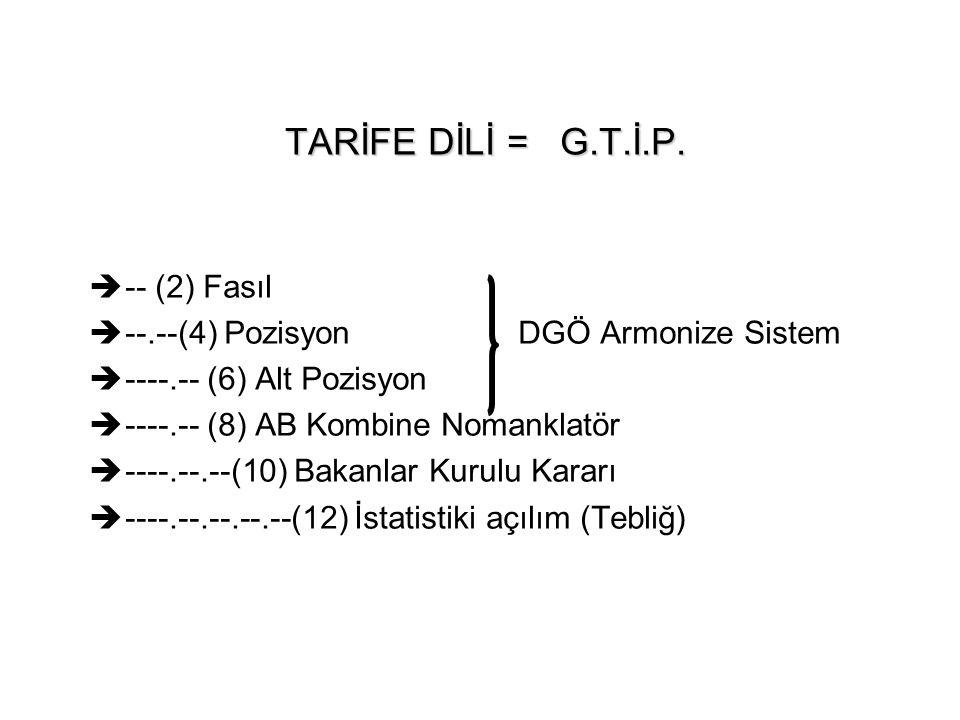 TARİFE DİLİ = G.T.İ.P. -- (2) Fasıl