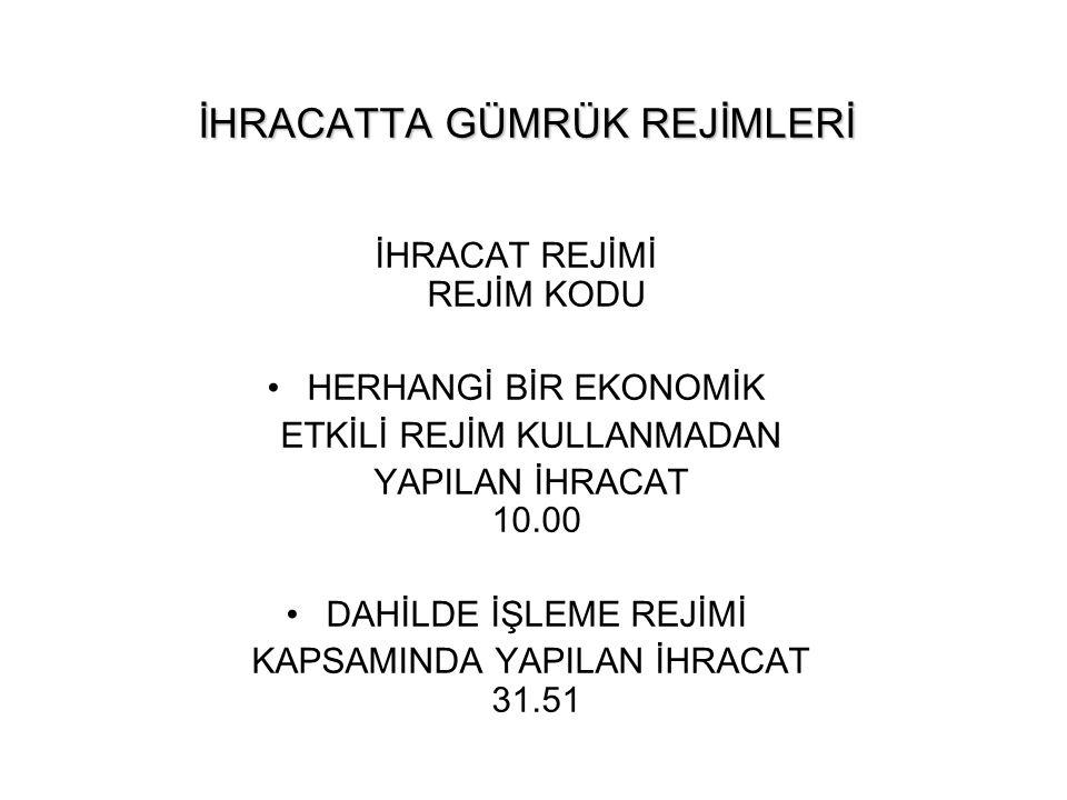 İHRACATTA GÜMRÜK REJİMLERİ