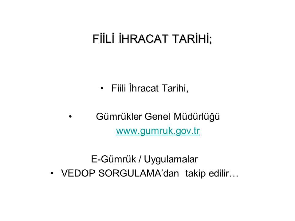 FİİLİ İHRACAT TARİHİ; Fiili İhracat Tarihi, Gümrükler Genel Müdürlüğü