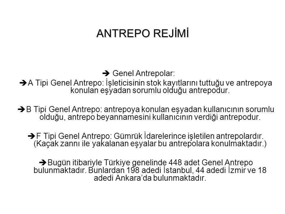 ANTREPO REJİMİ Genel Antrepolar: