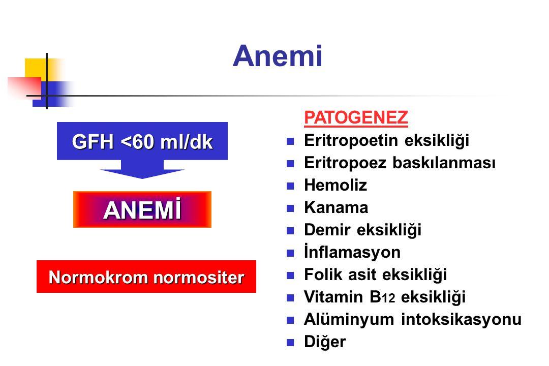 Anemi ANEMİ GFH <60 ml/dk PATOGENEZ Normokrom normositer