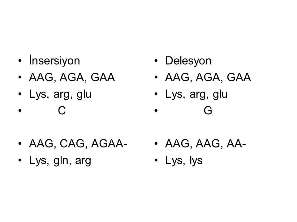 İnsersiyon AAG, AGA, GAA. Lys, arg, glu. C. AAG, CAG, AGAA- Lys, gln, arg. Delesyon. AAG, AGA, GAA.