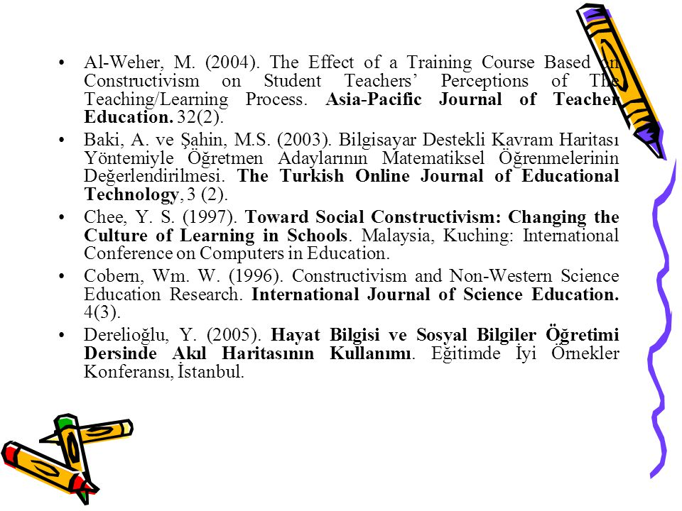 Al-Weher, M. (2004). The Effect of a Training Course Based on Constructivism on Student Teachers' Perceptions of The Teaching/Learning Process. Asia-Pacific Journal of Teacher Education. 32(2).