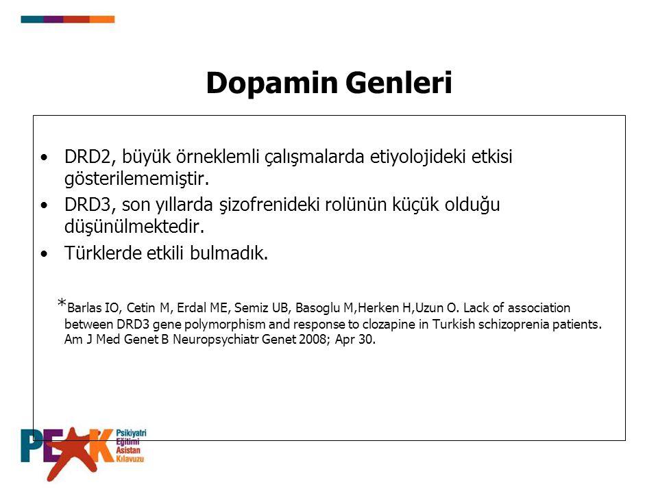Dopamin Genleri DRD2, büyük örneklemli çalışmalarda etiyolojideki etkisi gösterilememiştir.