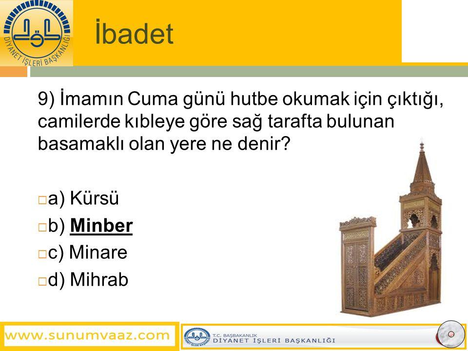 İbadet 9) İmamın Cuma günü hutbe okumak için çıktığı, camilerde kıbleye göre sağ tarafta bulunan basamaklı olan yere ne denir