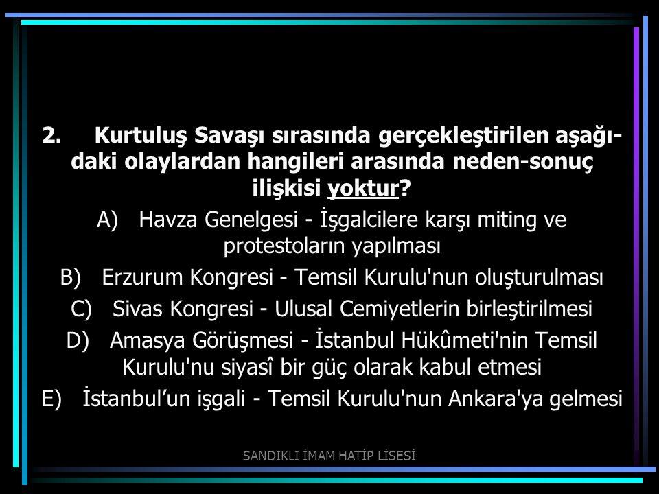 B) Erzurum Kongresi - Temsil Kurulu nun oluşturulması