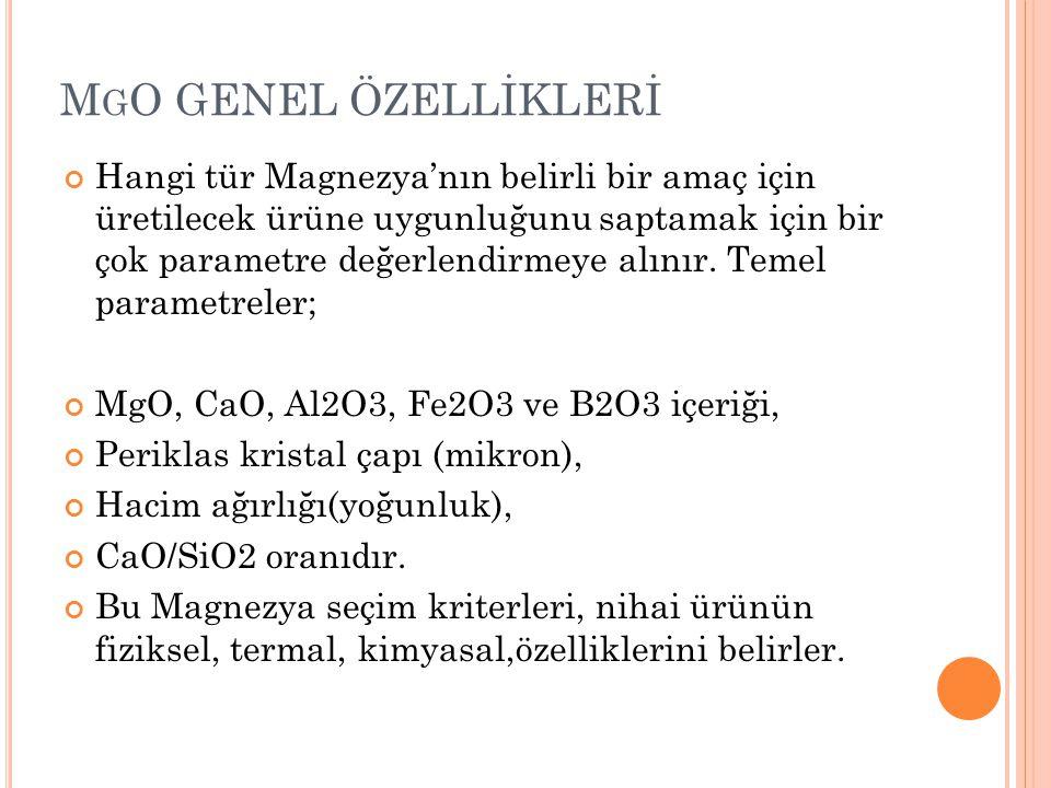 MgO GENEL ÖZELLİKLERİ