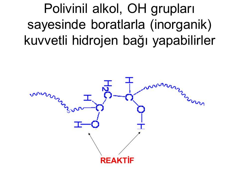 Polivinil alkol, OH grupları sayesinde boratlarla (inorganik) kuvvetli hidrojen bağı yapabilirler