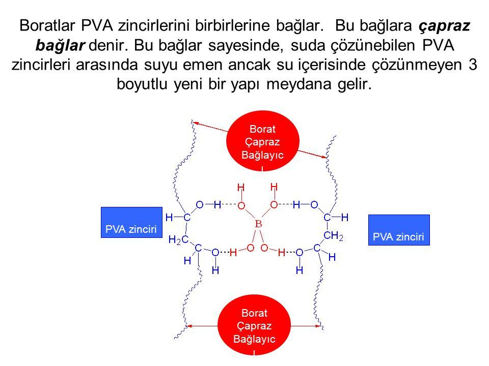 Boratlar PVA zincirlerini birbirlerine bağlar