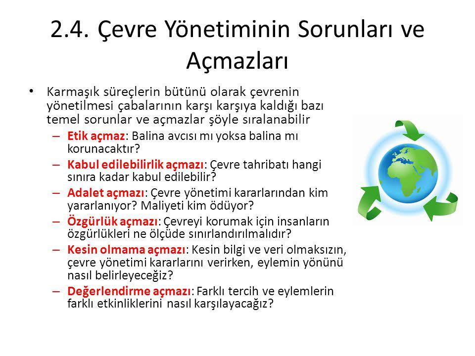 2.4. Çevre Yönetiminin Sorunları ve Açmazları