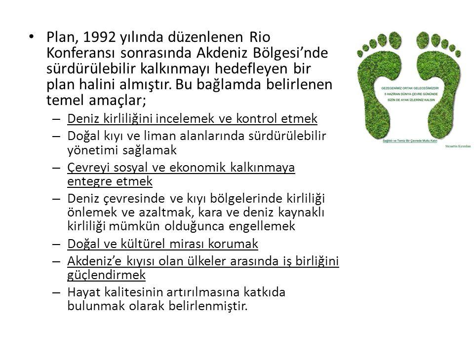 Plan, 1992 yılında düzenlenen Rio Konferansı sonrasında Akdeniz Bölgesi'nde sürdürülebilir kalkınmayı hedefleyen bir plan halini almıştır. Bu bağlamda belirlenen temel amaçlar;
