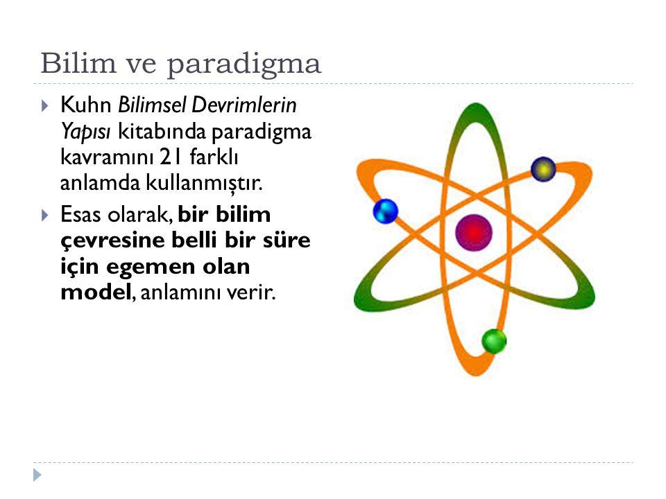 Bilim ve paradigma Kuhn Bilimsel Devrimlerin Yapısı kitabında paradigma kavramını 21 farklı anlamda kullanmıştır.