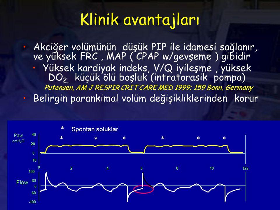 Klinik avantajları Akciğer volümünün düşük PIP ile idamesi sağlanır, ve yüksek FRC , MAP ( CPAP w/gevşeme ) gibidir.