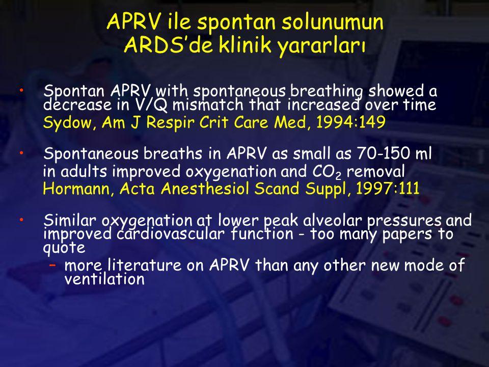 APRV ile spontan solunumun ARDS'de klinik yararları