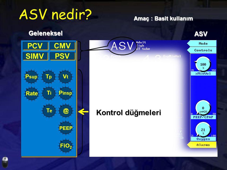ASV nedir PCV CMV SIMV PSV Kontrol düğmeleri Geleneksel ASV