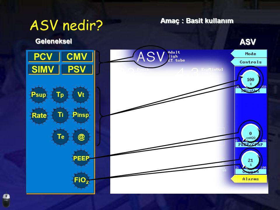 ASV nedir PCV CMV SIMV PSV ASV Amaç : Basit kullanım Geleneksel Psup