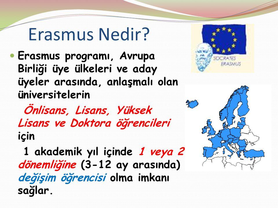 Erasmus Nedir Erasmus programı, Avrupa Birliği üye ülkeleri ve aday üyeler arasında, anlaşmalı olan üniversitelerin.