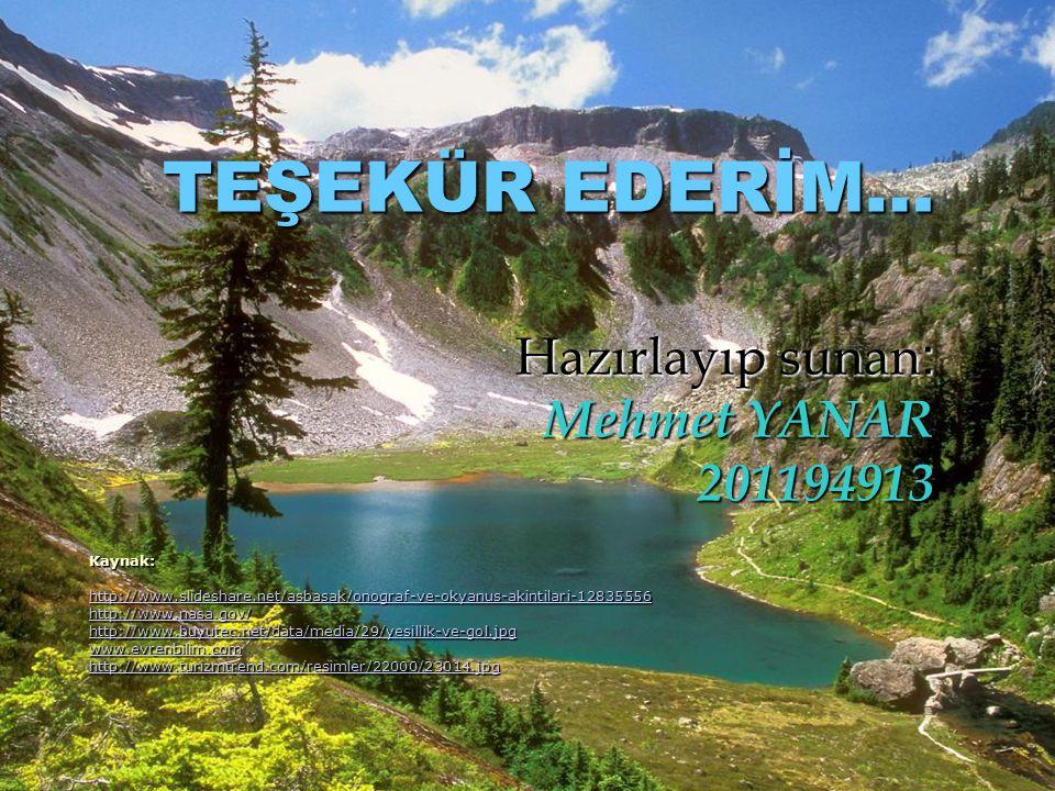 TEŞEKÜR EDERİM… Hazırlayıp sunan: Mehmet YANAR 201194913