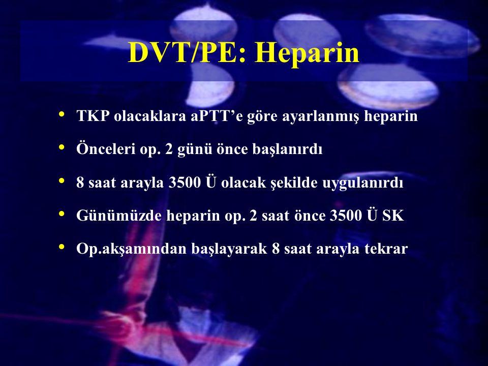 DVT/PE: Heparin TKP olacaklara aPTT'e göre ayarlanmış heparin