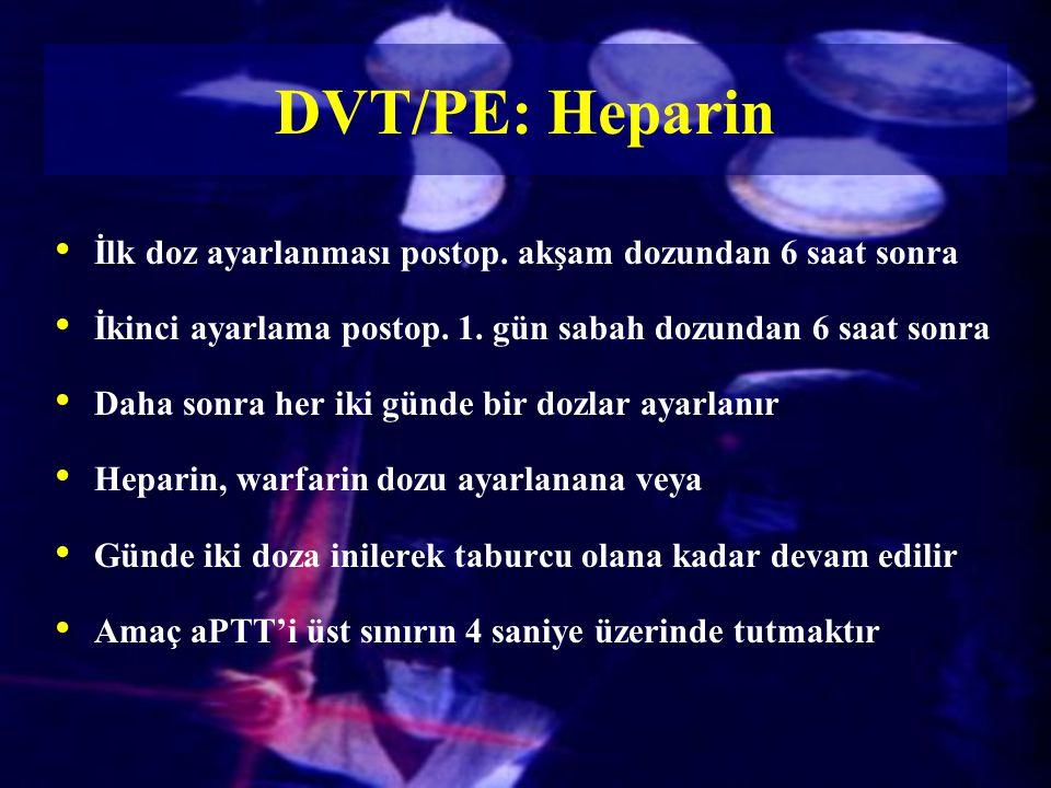 DVT/PE: Heparin İlk doz ayarlanması postop. akşam dozundan 6 saat sonra. İkinci ayarlama postop. 1. gün sabah dozundan 6 saat sonra.