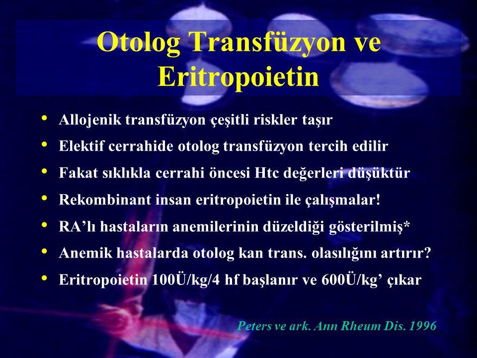Otolog Transfüzyon ve Eritropoietin
