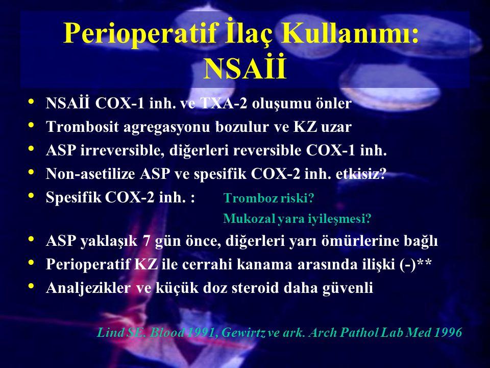 Perioperatif İlaç Kullanımı: NSAİİ