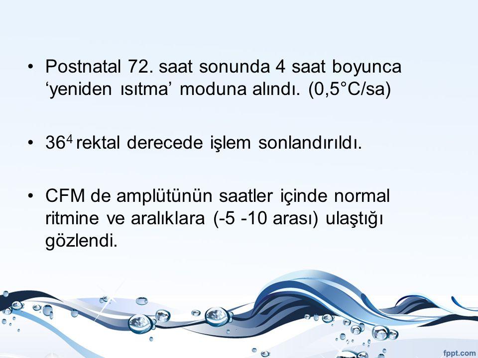 Postnatal 72. saat sonunda 4 saat boyunca 'yeniden ısıtma' moduna alındı. (0,5°C/sa)
