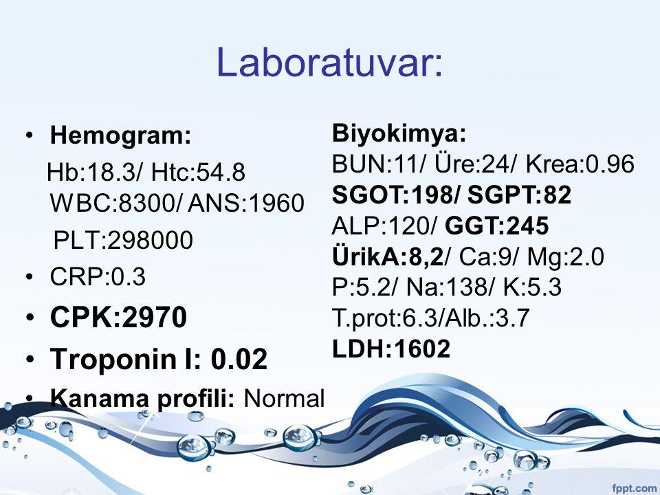 Laboratuvar: CPK:2970 Troponin I: 0.02 Biyokimya: Hemogram: