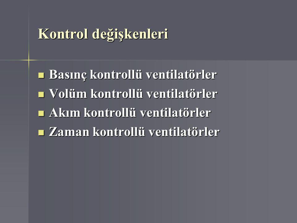 Kontrol değişkenleri Basınç kontrollü ventilatörler