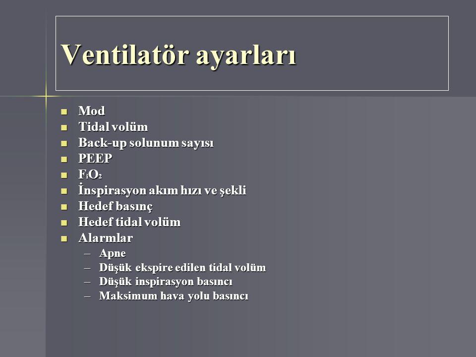 Ventilatör ayarları Mod Tidal volüm Back-up solunum sayısı PEEP FiO2