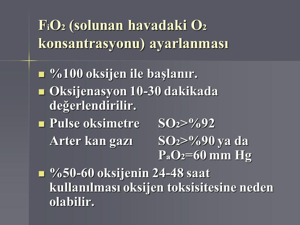 FiO2 (solunan havadaki O2 konsantrasyonu) ayarlanması