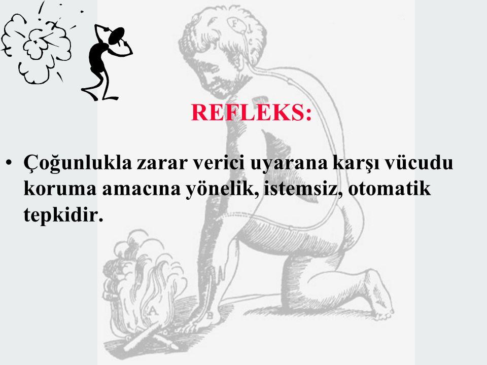 REFLEKS: Çoğunlukla zarar verici uyarana karşı vücudu koruma amacına yönelik, istemsiz, otomatik tepkidir.
