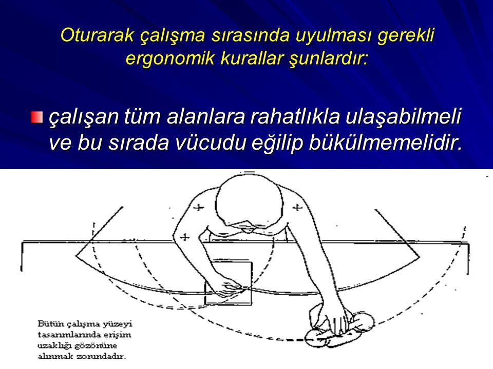 Oturarak çalışma sırasında uyulması gerekli ergonomik kurallar şunlardır: