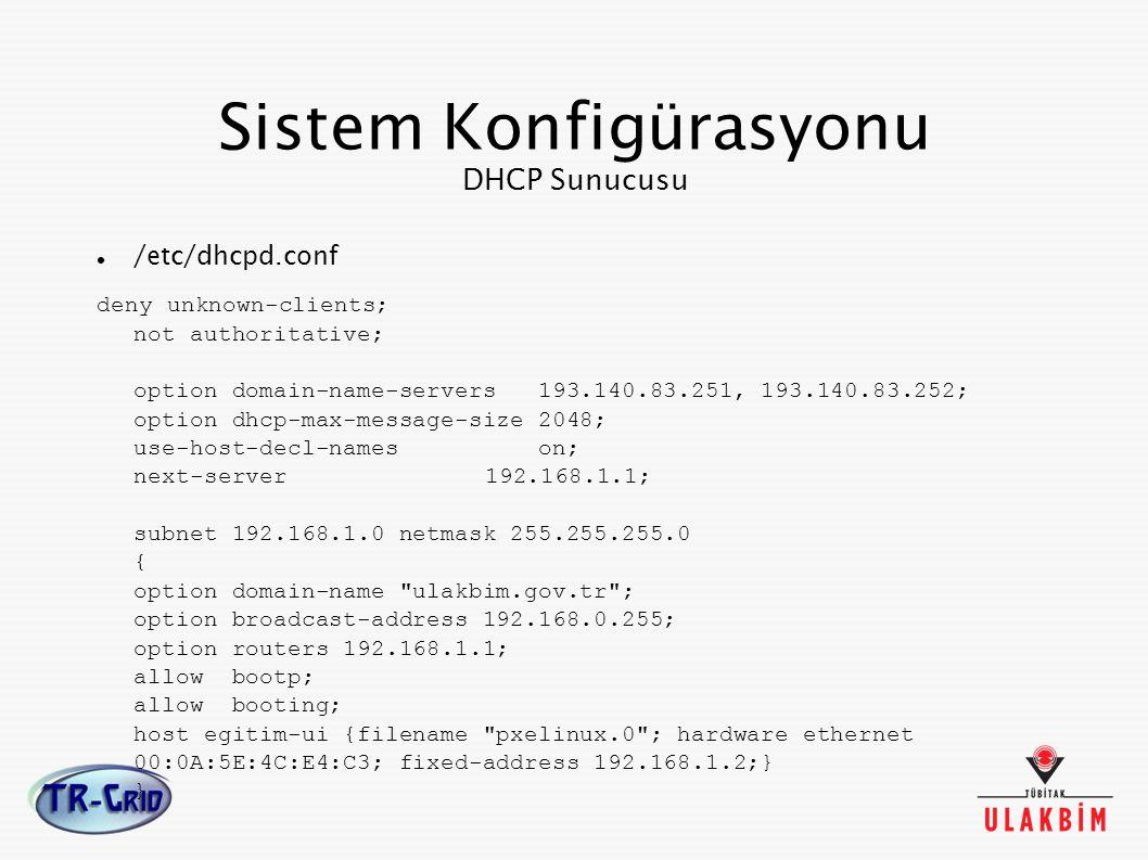 Sistem Konfigürasyonu DHCP Sunucusu