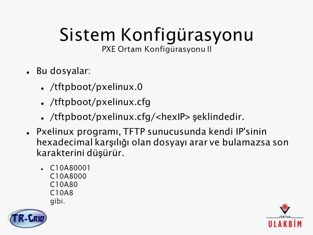 Sistem Konfigürasyonu PXE Ortam Konfigürasyonu II