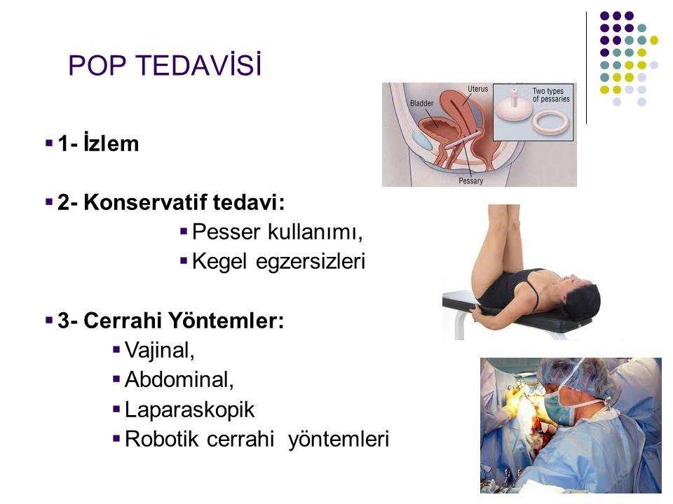 POP TEDAVİSİ 1- İzlem 2- Konservatif tedavi: Pesser kullanımı,