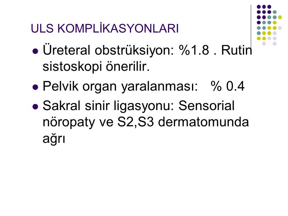 Üreteral obstrüksiyon: %1.8 . Rutin sistoskopi önerilir.