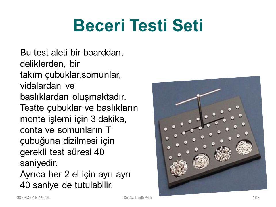 Beceri Testi Seti Bu test aleti bir boarddan, deliklerden, bir