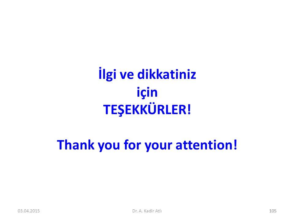 İlgi ve dikkatiniz için TEŞEKKÜRLER! Thank you for your attention!