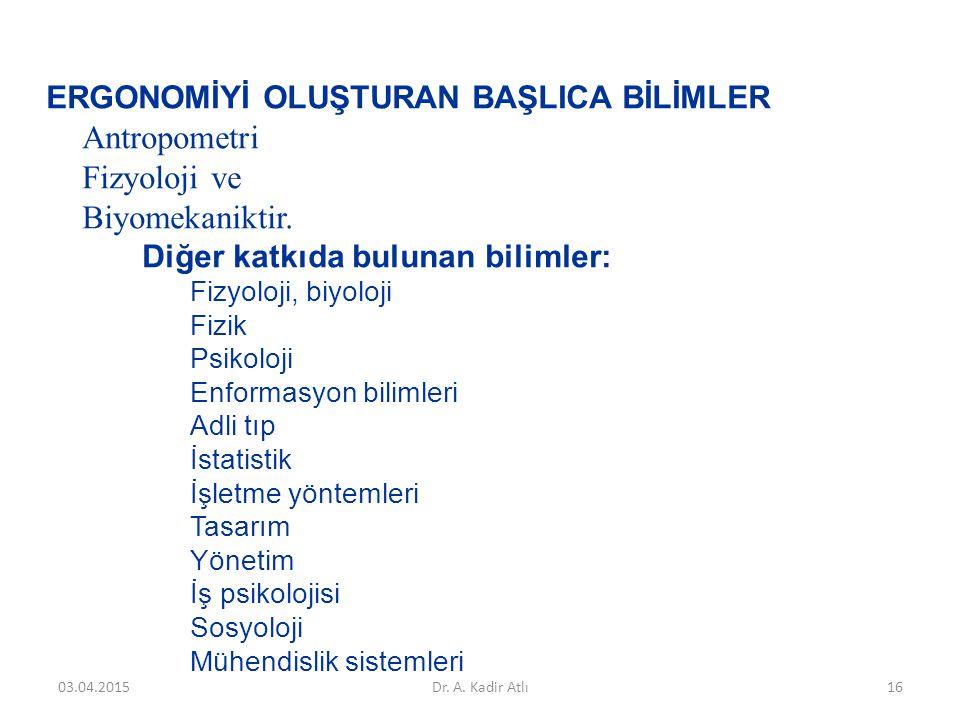 Antropometri Fizyoloji ve Biyomekaniktir.